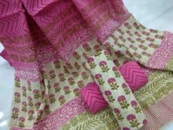 pink and Chartreuse green Booty print cotton dupatta suits