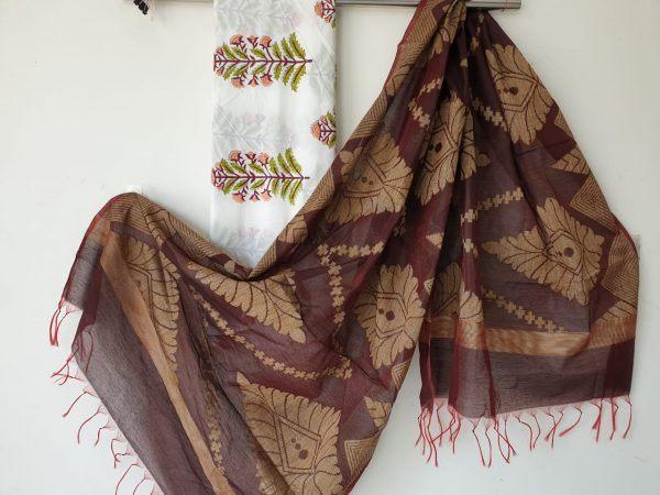 Brown jakard  golden work dupatta with Cotton 2 piece suit