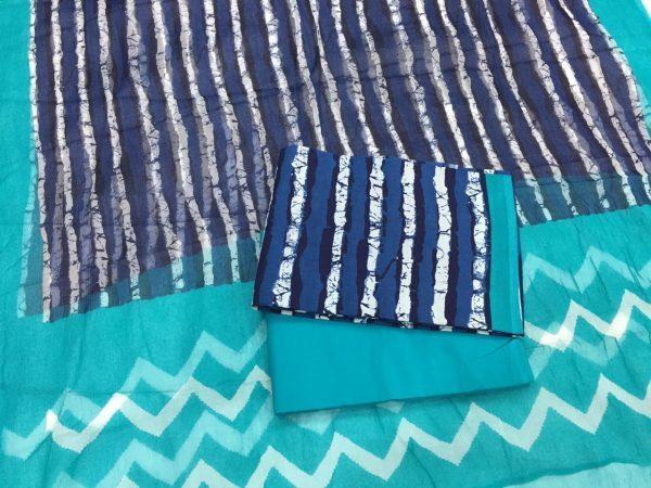 Ladies blue-violet batik strips print chiffon dupatta Cotton suit
