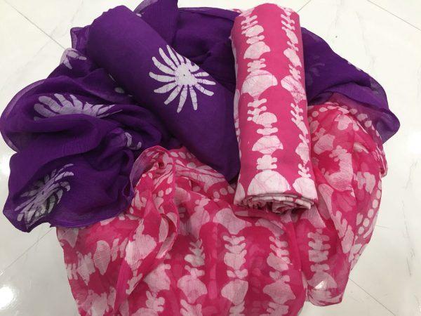 Traditional purple Batik Waves Print Cotton Salwar Suit Set