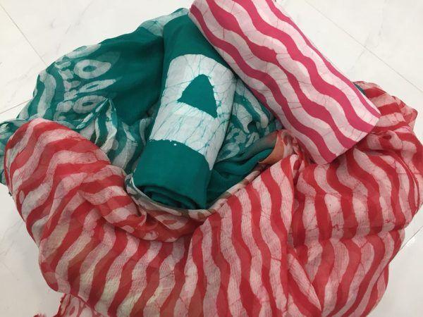 Superior Quality Viridian Batik waves print Pure Cotton Suit Set