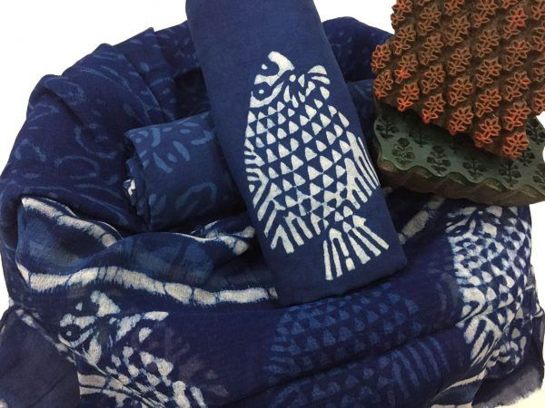 Natural indigo dabu print cotton pure chiffon dupatta with salwar kameez suit