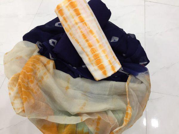 Exclusive amber shibori print pure chiffon chunni cotton suit set