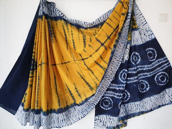 Traditional amber bagru print casual wear Pure mulmul saree with blouse