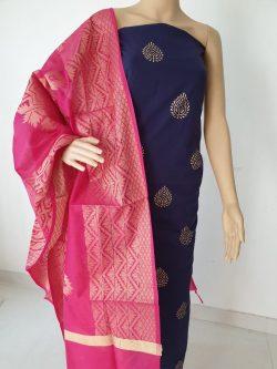 Rose colour pure Cotton 2 piece suit with jakard  golden work dupatta
