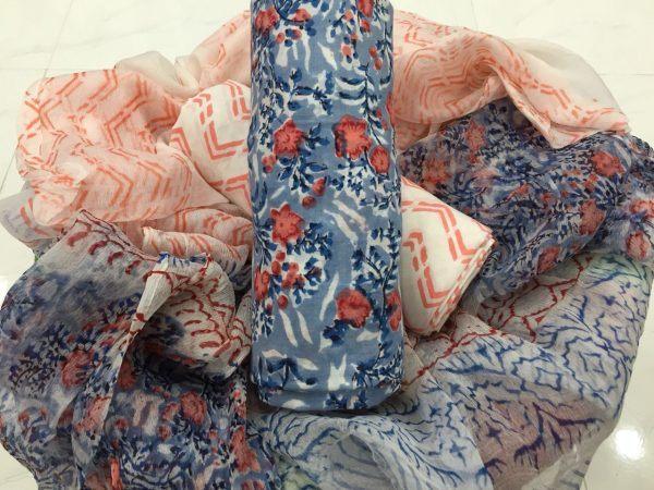Beautiful rapid print blue-green chiffon chunni pure cotton suit set