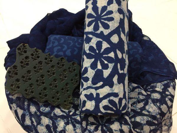 Unstitched indigo dabu print pure cotton suit set with pure chiffon chunni