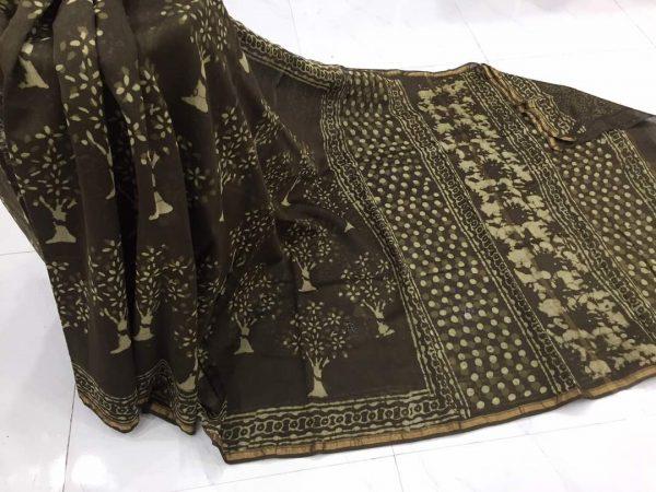 Jaipuri black dabu tree print casual wear chanderi silk saree with blouse