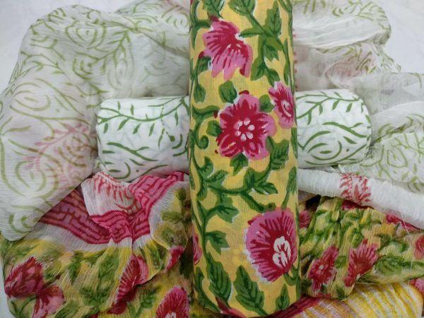Superior quality lemon rapid floral print cotton salwar suit set with chiffon dupatta
