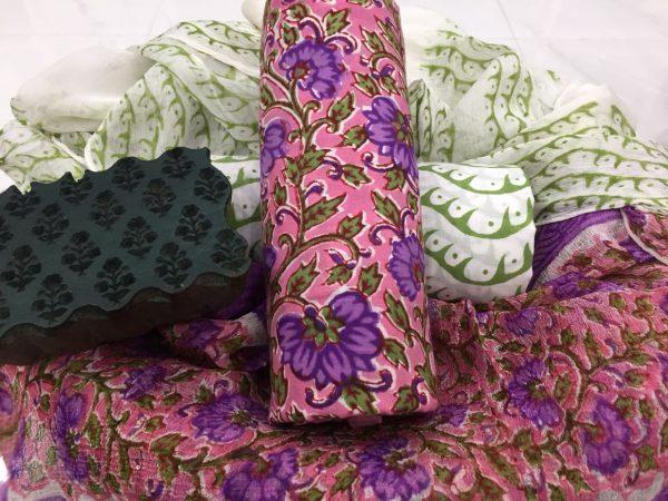 Voilet rapid print cotton salwar suit set with pure chiffon dupatta