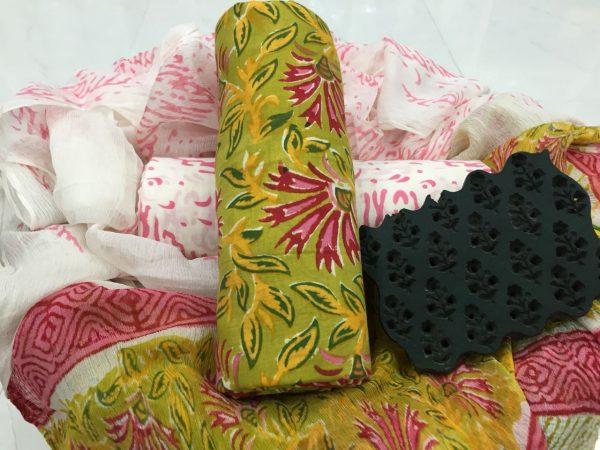 Jaipur pear rapid print pure cotton suit set with pure chiffon dupatta