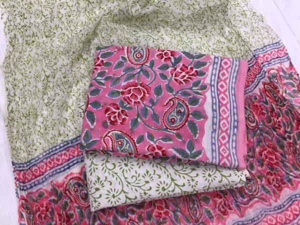 Exclusive rose rapid print cotton suit set with pure chiffon dupatta