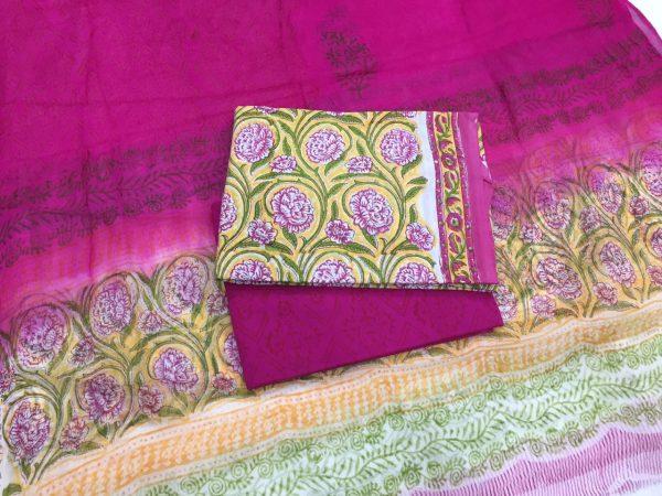 Unstitched lemon rapid print pure cotton salwar kameez set with pure chiffon dupatta
