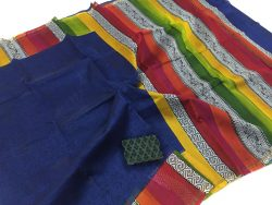 Multicolor daily wear chanderi silk saree with blouse