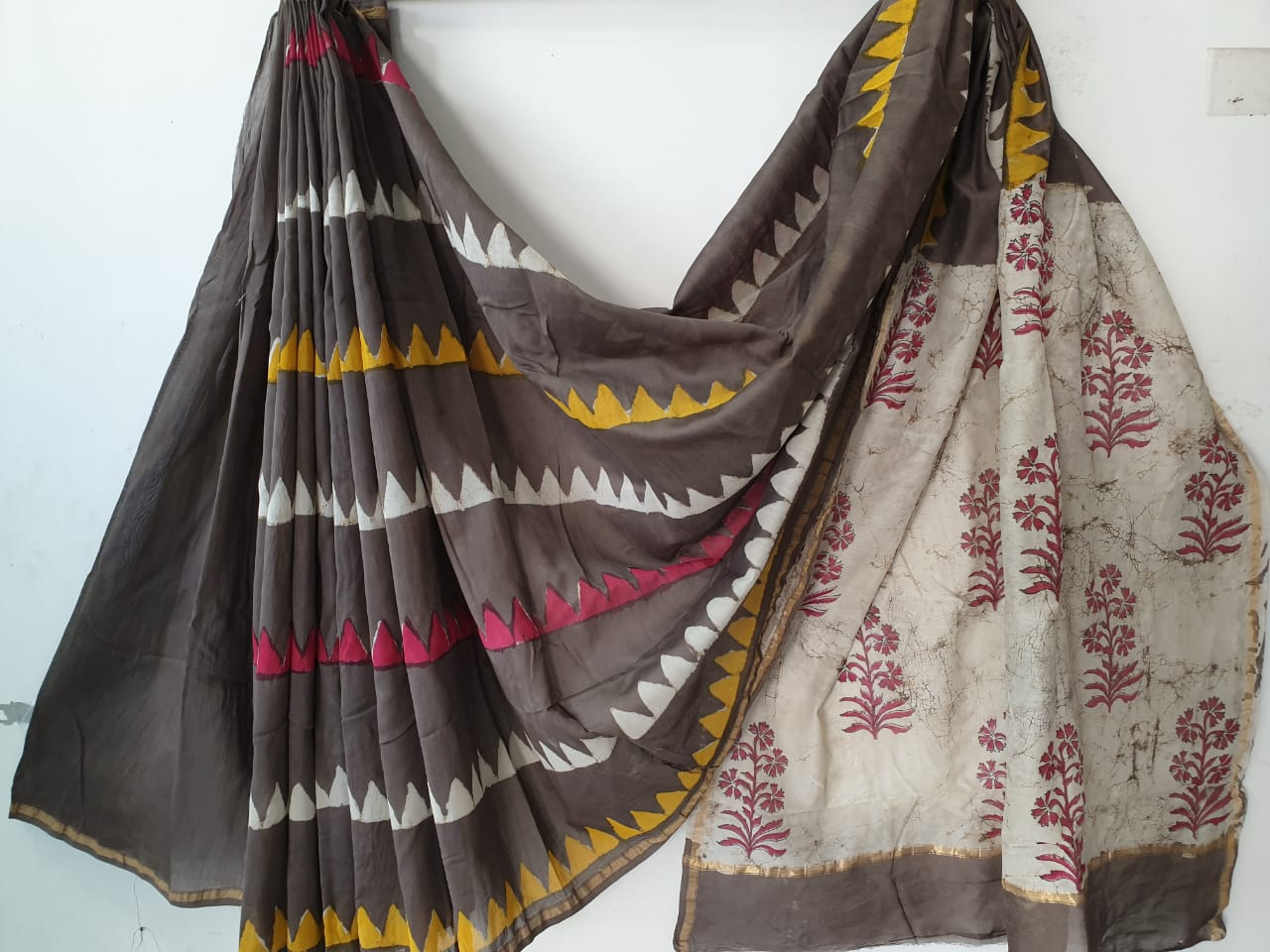 0dcb523d3a Taupe batik print party wear chanderi silk saree with blouse