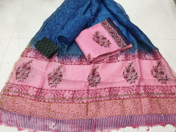 Pink mugal print casual wear chanderi suit with chaderi dupatta
