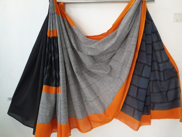 Silver bagru print daily wear pure cotton saree with blouse piece