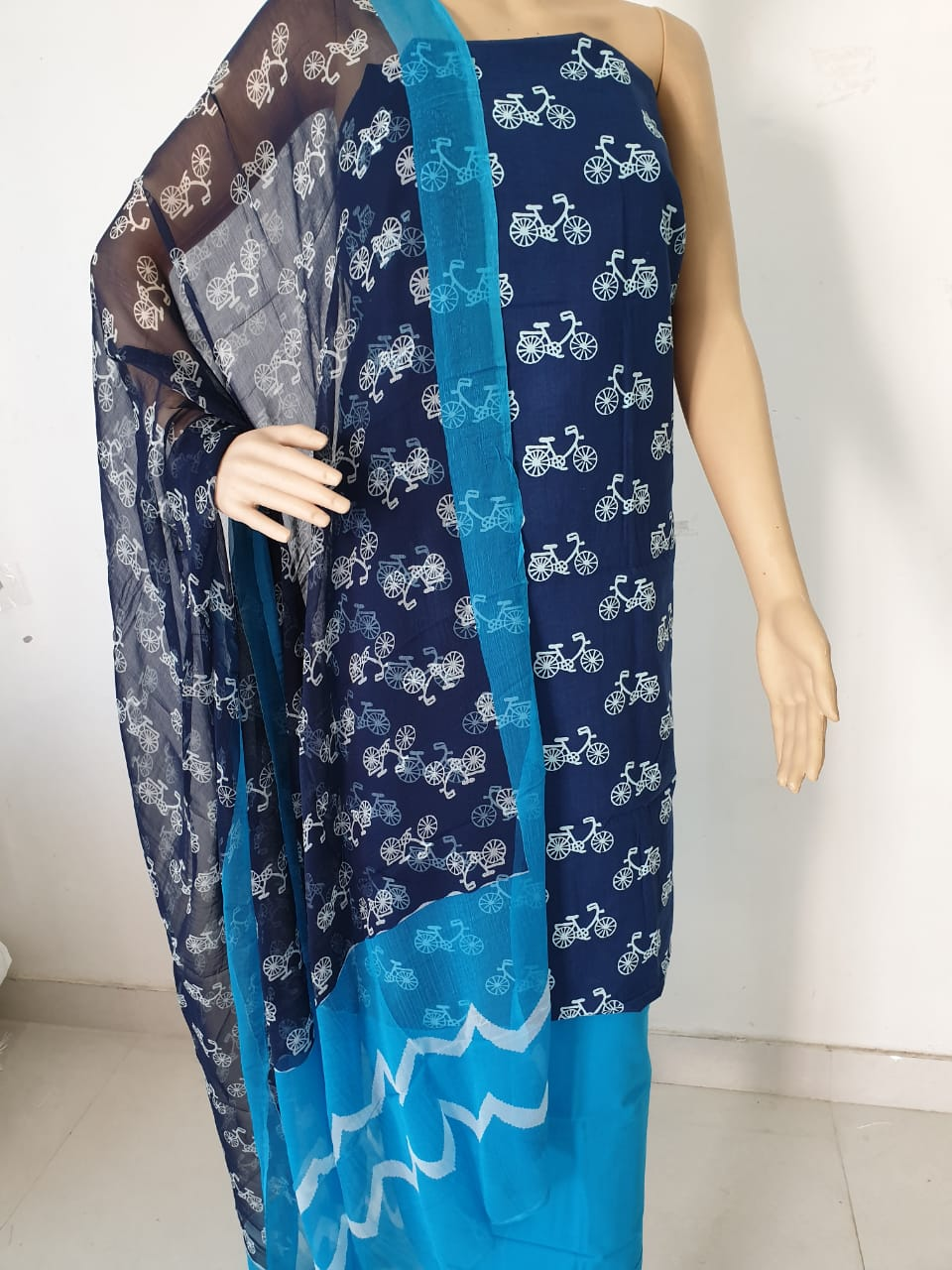 07ce210e0c Navy blue prussion bagru cycle print regular wear cotton suit with ...