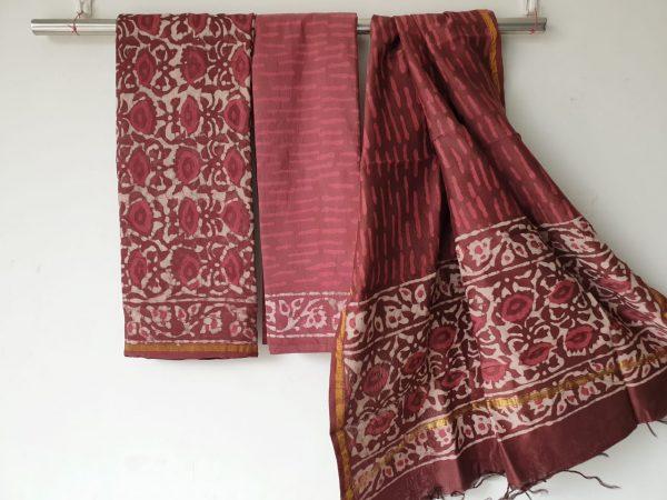 Jaipur maroon bagru dabu print chanderi salwar suit
