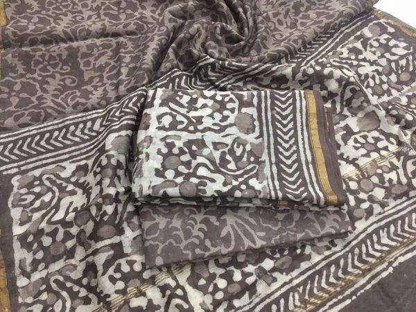 Brown bagru dabu floral print casual wear Pure chanderi silk salwar suit set