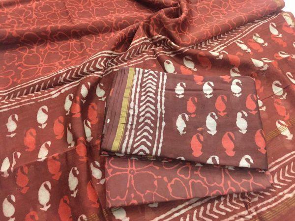 Maroon bagru dabu print casual wear Pure chanderi silk salwar suit set