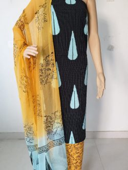 Black mugal print casual wear kantha work salwar kameez with chiffon dupatta