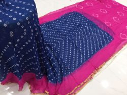 Magenta rose prussion color casual wear chiffon saree with blouse piece