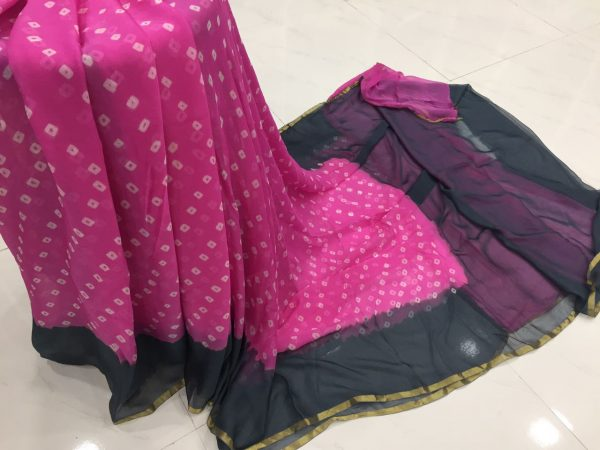 Magenta prussion color casual wear chiffon saree with blouse piece