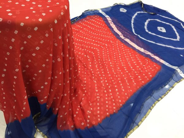 Red prussion color casual wear chiffon saree with blouse piece