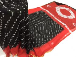 Black prussion color casual wear chiffon saree with blouse piece