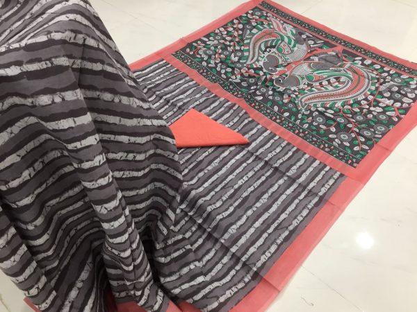 Cerise prussion kalamkari bagru strips print cotton mulmul saree with blouse piece