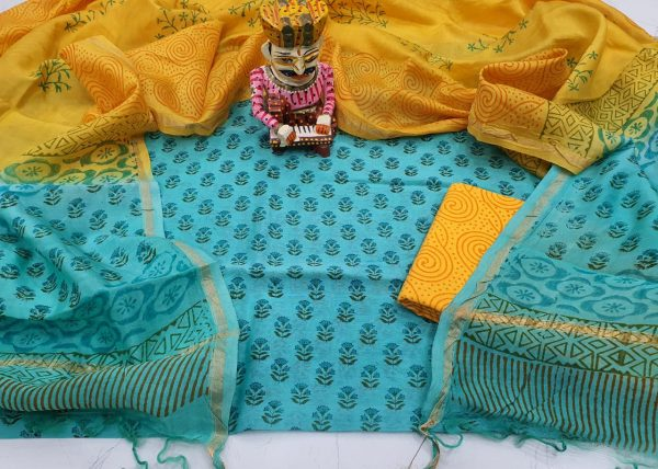 Baby blue pigment booty print casual wear chanderi silk suit