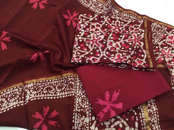 Maroon floral batik print casual wear chanderi salwar kameez set