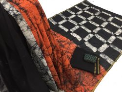 Batik Print Chanderi Zari Border Cotton Mulmul Saree (5)