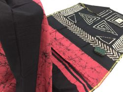 Batik Print Chanderi Zari Border Cotton Mulmul Saree (8)