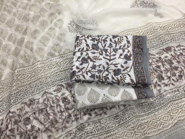 Unstitched white pigment print cotton salwar suit set with chiffon dupatta