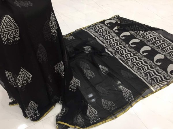 Black and white print casual wear chiffon saree with blouse piece