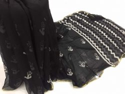 Black & White Chiffon Saree (4)