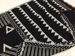Black & White Pompom Cotton Saree (1)