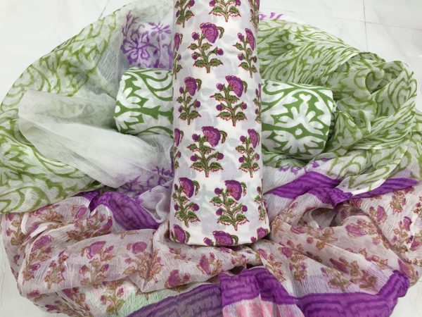 Superior quality white pigment booty print pure cotton suit with pure chiffon dupatta