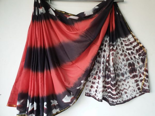 Clamp Chanderi Zari Border Cotton Mulmul Saree (6)