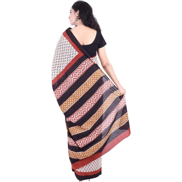Tan bagru booty print daily wear pure cotton mulmul saree with blouse piece