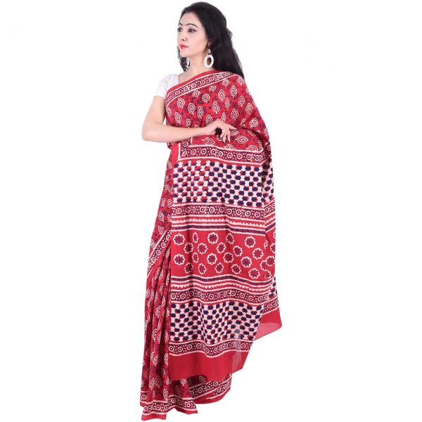 Red bagru print daily wear pure Cotton mulmul saree with blouse piece