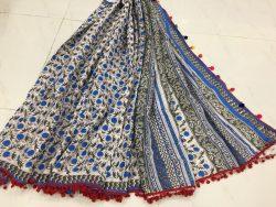 Cotton Mulmul Pompom Saree (3)