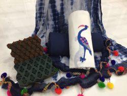 Crane Print Pompom Cotton Suit
