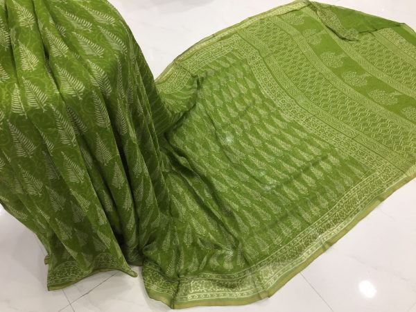 Green discharge color casual wear chiffon saree with blouse piece