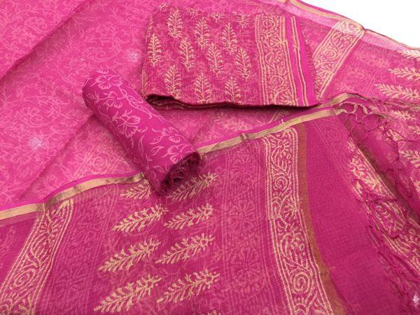 Rose party wear discharge bagru print Kota Doria salwar Suit
