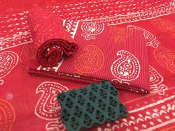 Red discharge mugal kerry print kantha suit set with chiffon dupatta