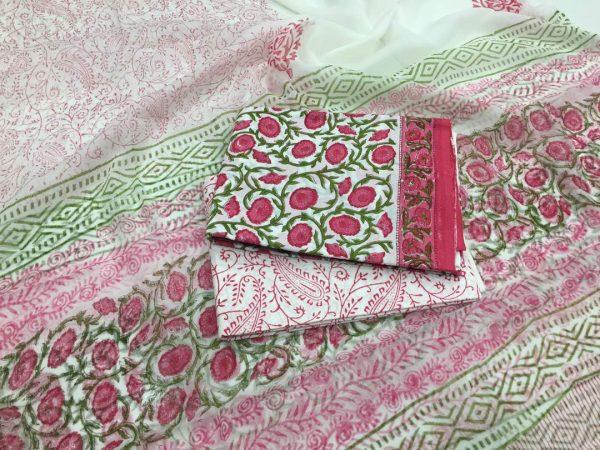 Unstitched white pigment print cotton salwar suit set with pure chiffon dupatta