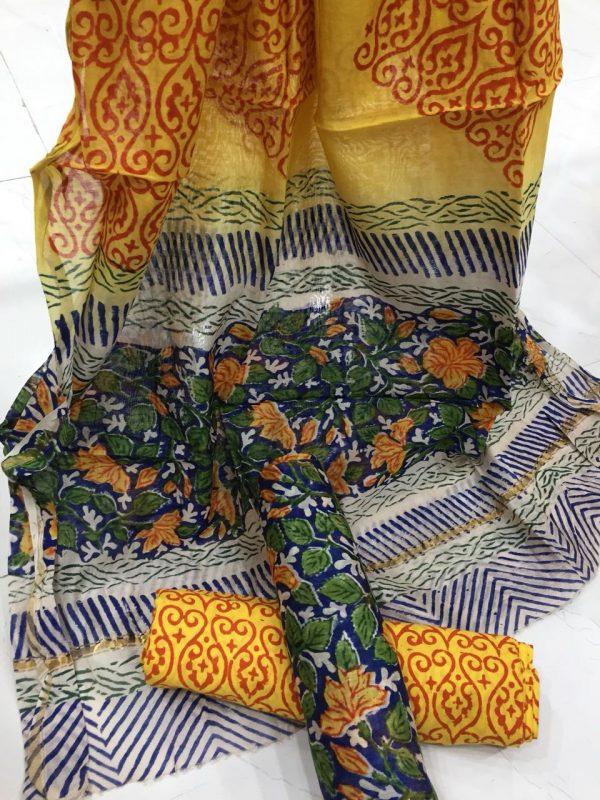 Yellow floral kalamkari rapid print casual wear chanderi silk suit